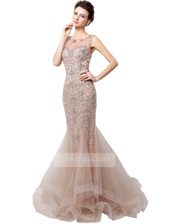 0866232428be Champagne Mermaid Prom Dress Uk