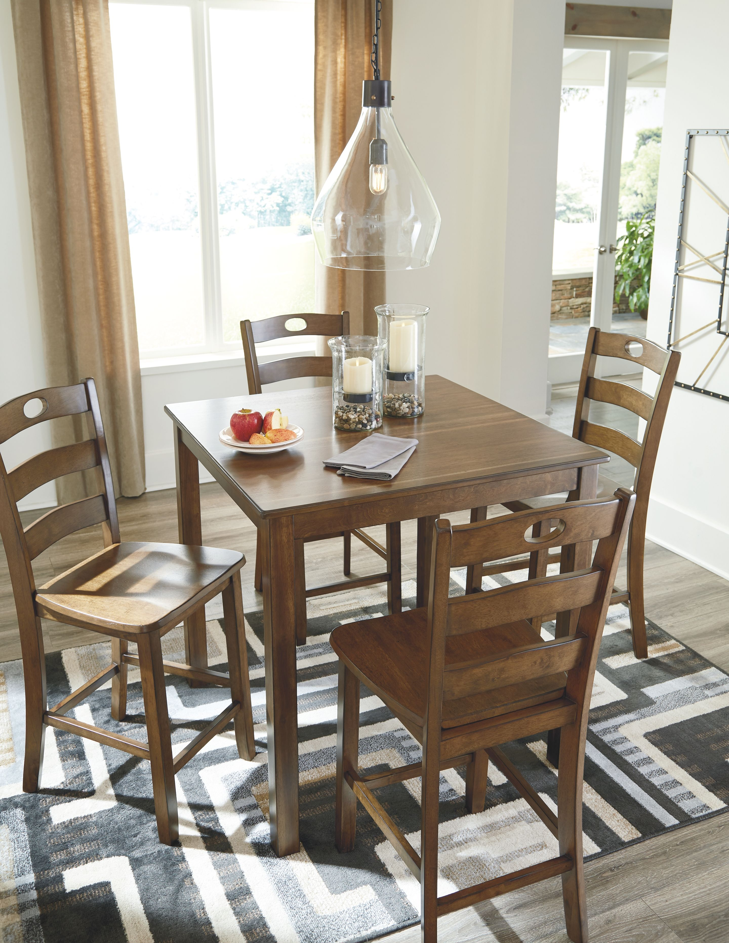 Hazelteen counter height dining room table and bar stools set of 5 medium brown