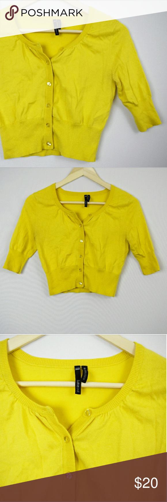 Yellow Crop Button Down Cardigan Sweater | Mustard yellow, Mustard ...