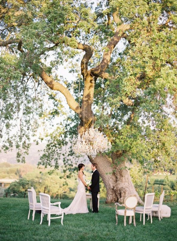 Nothing Like A Tree Ceremony Site Inspiration Outdoor Decor Al Items Needed Vintage Chandeliers And Chairs Image Thanks To Found