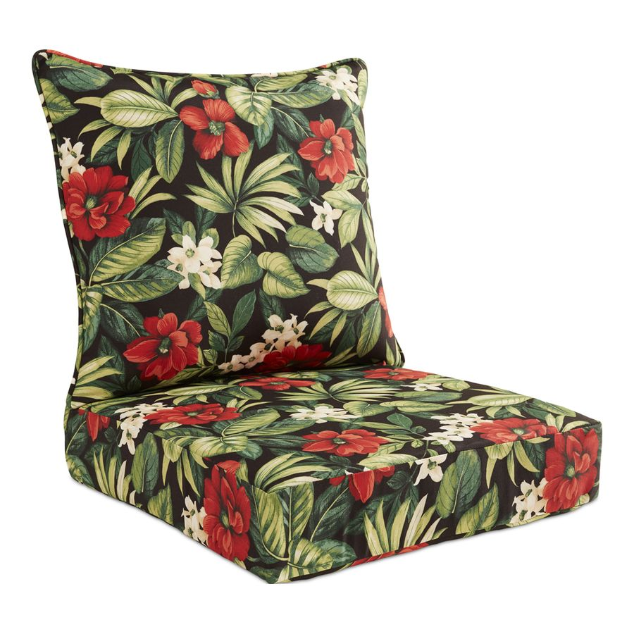 Garden Treasures 2 Piece Sanibel Black Tropical Deep Seat Patio Chair Cushion Lowes Com Patio Chair Cushions Outdoor Chair Cushions Patio Cushions