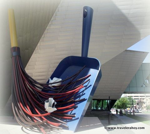 Giant Broom and Dust Pan outside the Denver Art Gallery.
