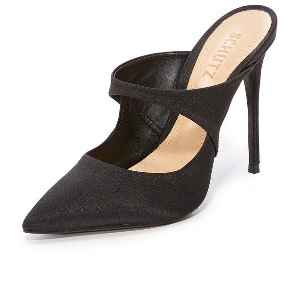 Black Schutz Nicolly Pointed Toe Heeled Mules Fantastic Shop