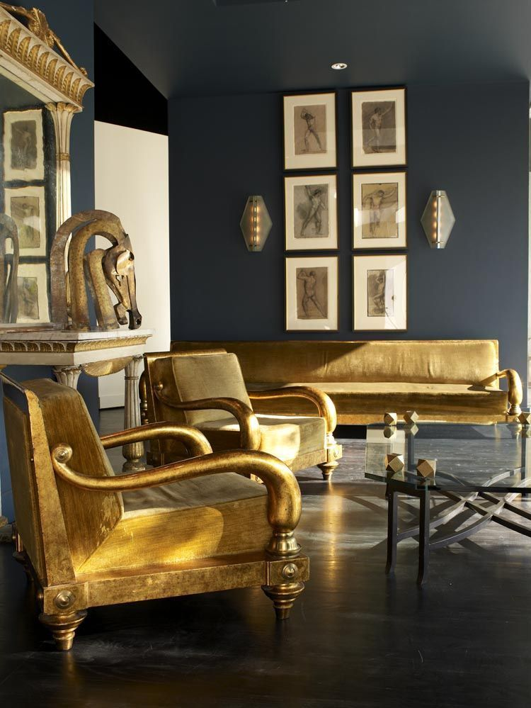 Gold Egyptian Style Furniture And Dark Walls Work So Well Get