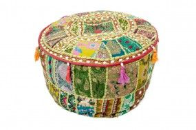 Sitzpouf Brokat Patchwork, indische Handarbeit, hellgrün