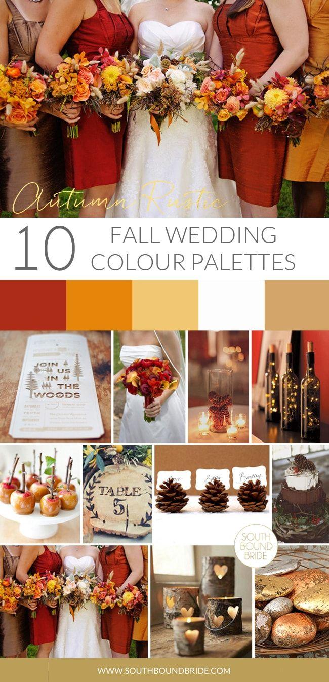 10 Autumn Wedding Colour Palettes Country wedding colors