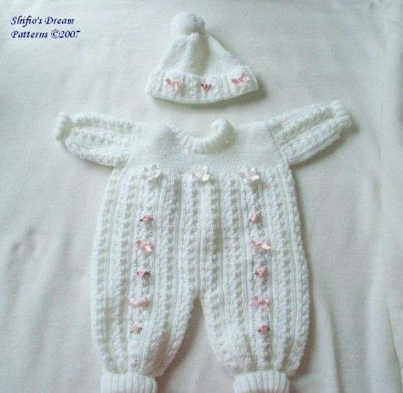 Knitting Pattern Baby Pram Suit Hat Boy Girl 2