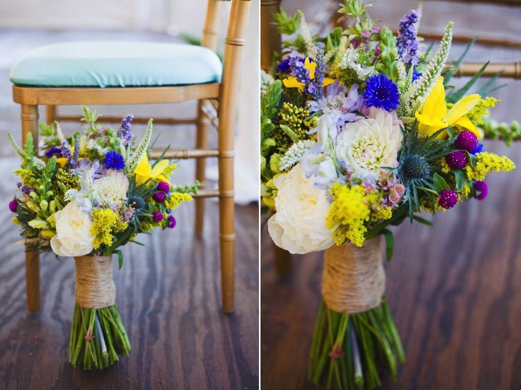 White Yellow Blue Purple Wildflower Inspired Wedding Flowers Park