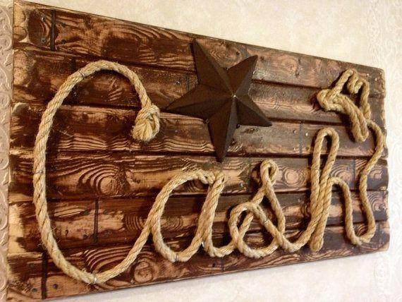 western wood rope name sign baby country rustic distressed nursery
