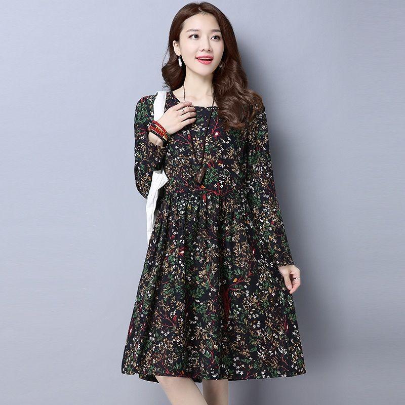 new fashion cotton linen vintage print plus size women casual loose autumn spring dress vestidos femininos party 2017 dresses