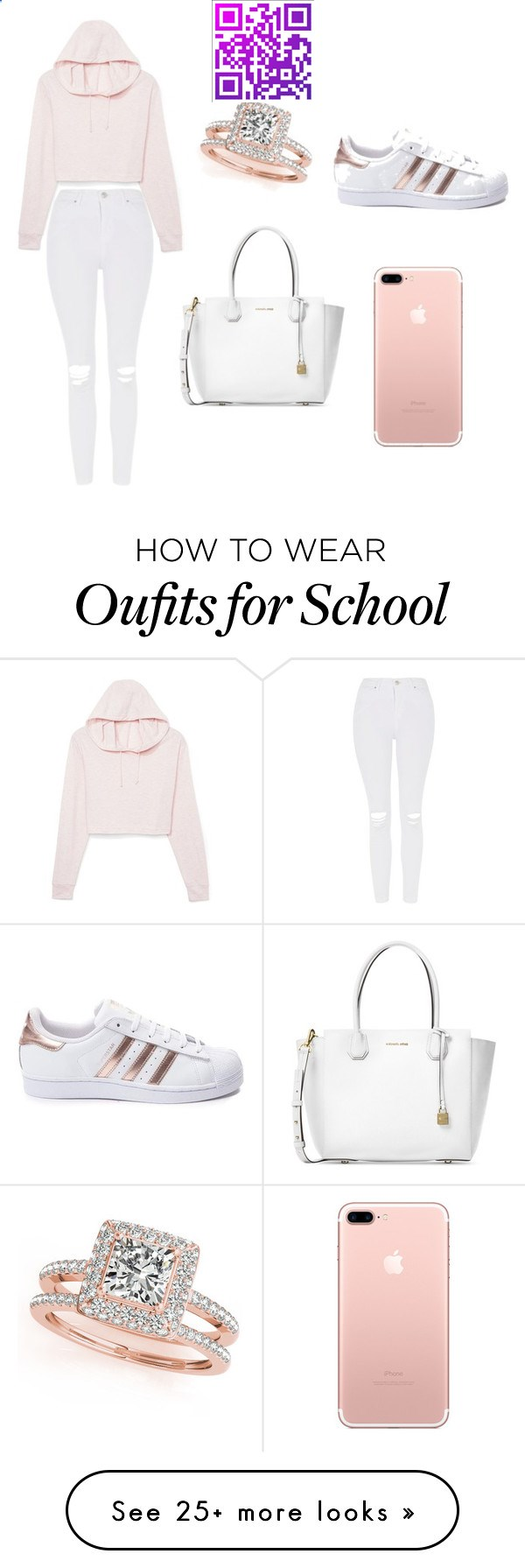 school outfit by ashlehhfhbffg on Polyvore featuring Michael Kors, Topshop, adidas and Allurez