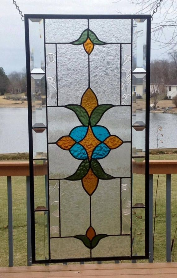 Victorian Beveled Stained Gl Panel Window Hanging Amber Blue Olive Clear Transom 0340 23 1 2 X 11 Long Sides