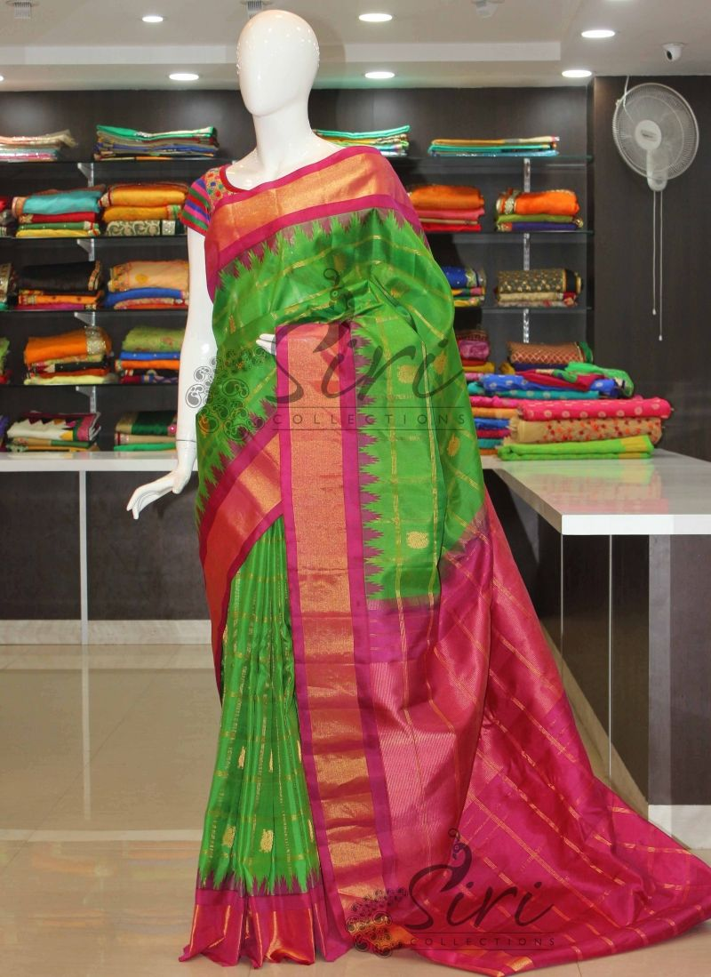fbe7e3f000955 Traditional Green Pink Pure Authentic Gadwal Silk Saree in Self zari checks  and buti with rich pallu. It comes with an unstitched pink blouse fabric  same as ...