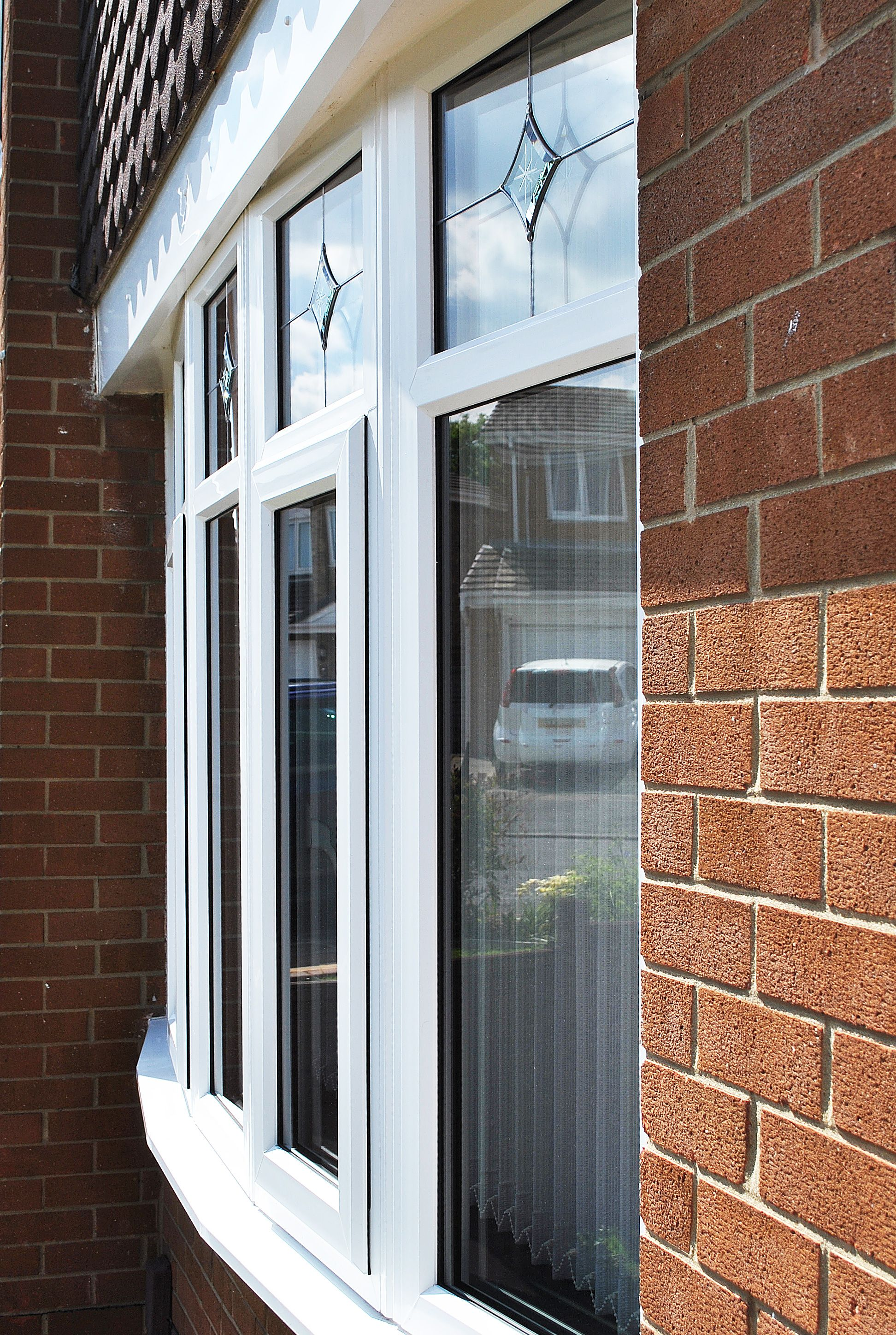 Beautiful UPVC Rehau Lincoln Door And Windows With Sparkle Glass Design In  Side Panels And Top Openings With Glass Bevels Within The Windows Changing  ...