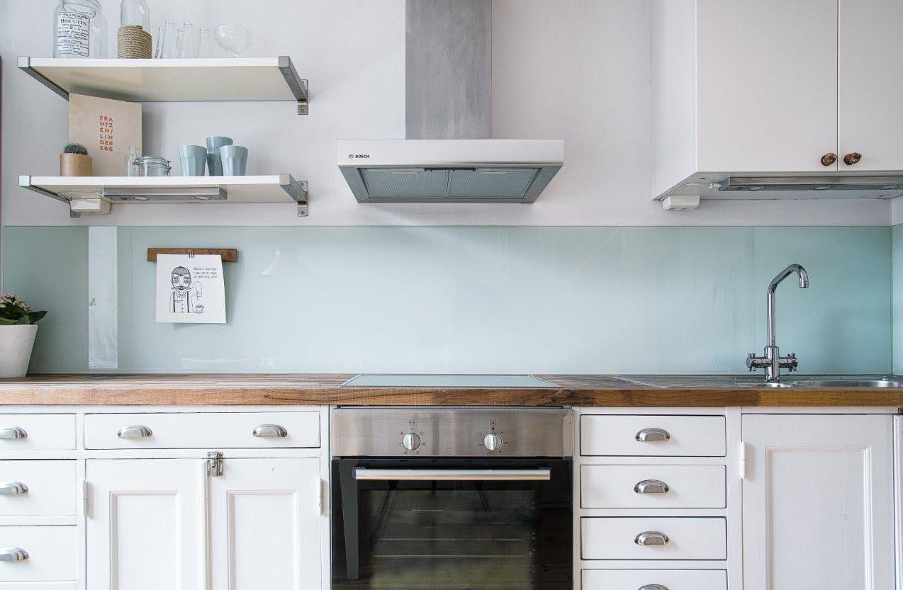 Not Your Basic Backsplash A Lovely Low Maintenance Alternative To Tile Glass Backsplash Kitchen Kitchen Tiles Backsplash Glass Backsplash