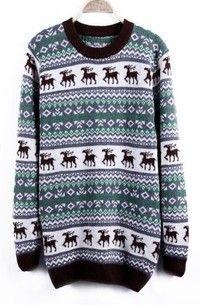 Green Deer with Snowflake Fair Isle Pattern Sweater