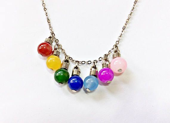 Joyce Byers Christmas Lights Necklace Inspired By Stranger Things Colorful Light Bulbs Lighted Necklace Christmas Light Necklace Colourful Necklace