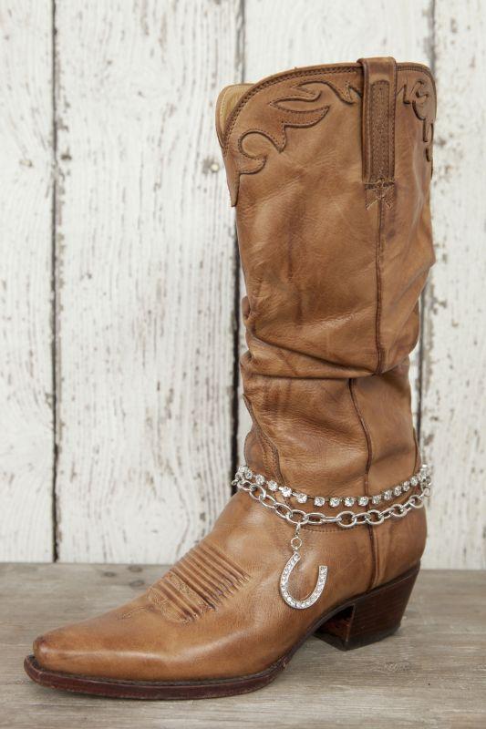 Silver Bling Horseshoe Boot Bracelet - Classy Country