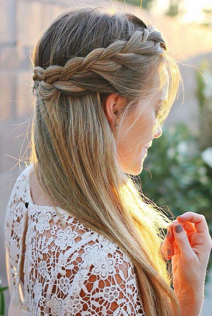 Pretty Half Up French Braid Crown Wedding Hair Style Idea With