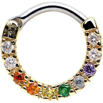 "14 Gauge 5/16"" Multicolored CZ Gold IP Sparkling Wreath Septum Clicker 