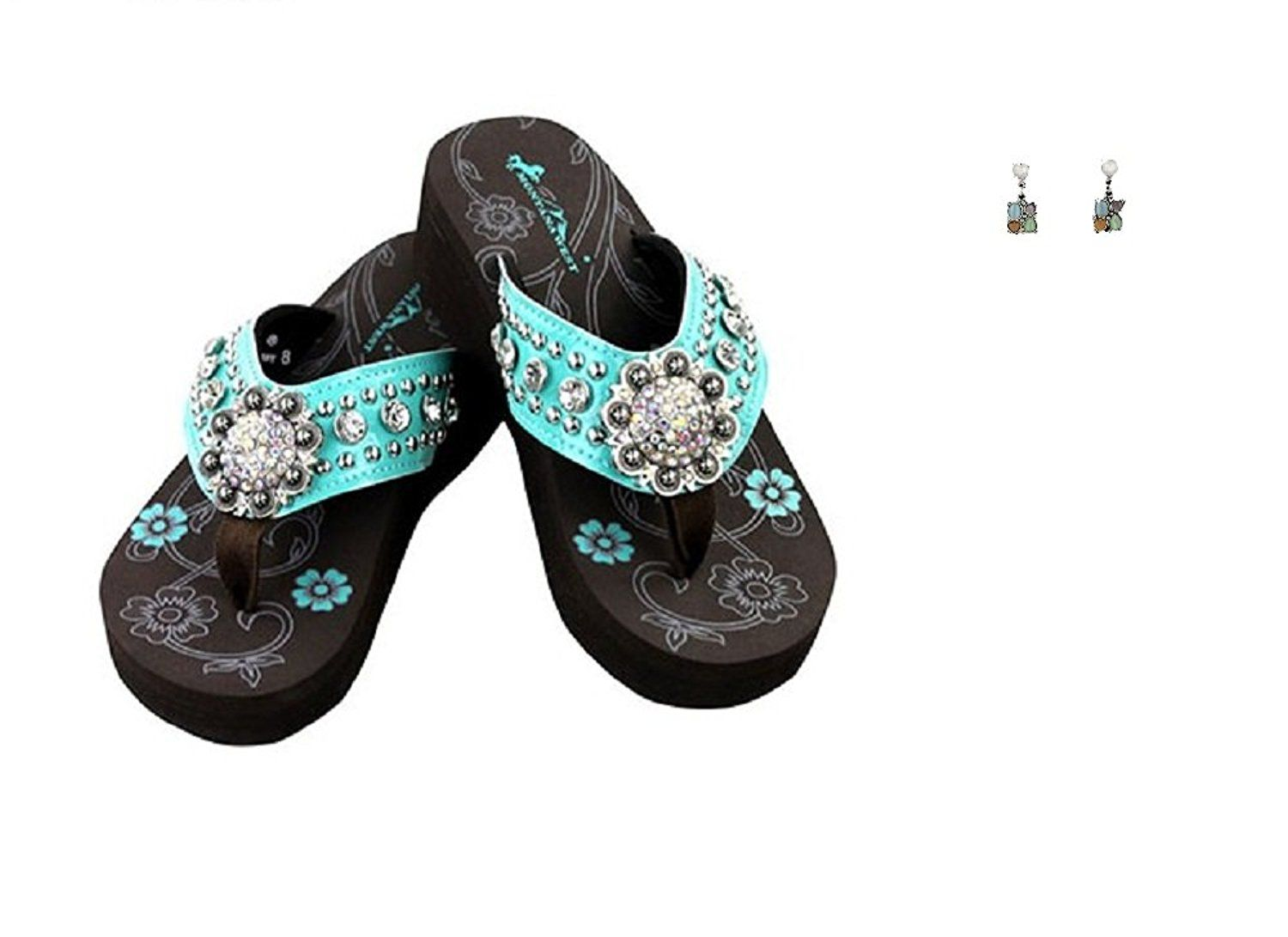 c12663524 Montana West Rhinestone Concho Flip Flops Turquoise Blue Earrings Size 11      You can find out more details at the link of the image.