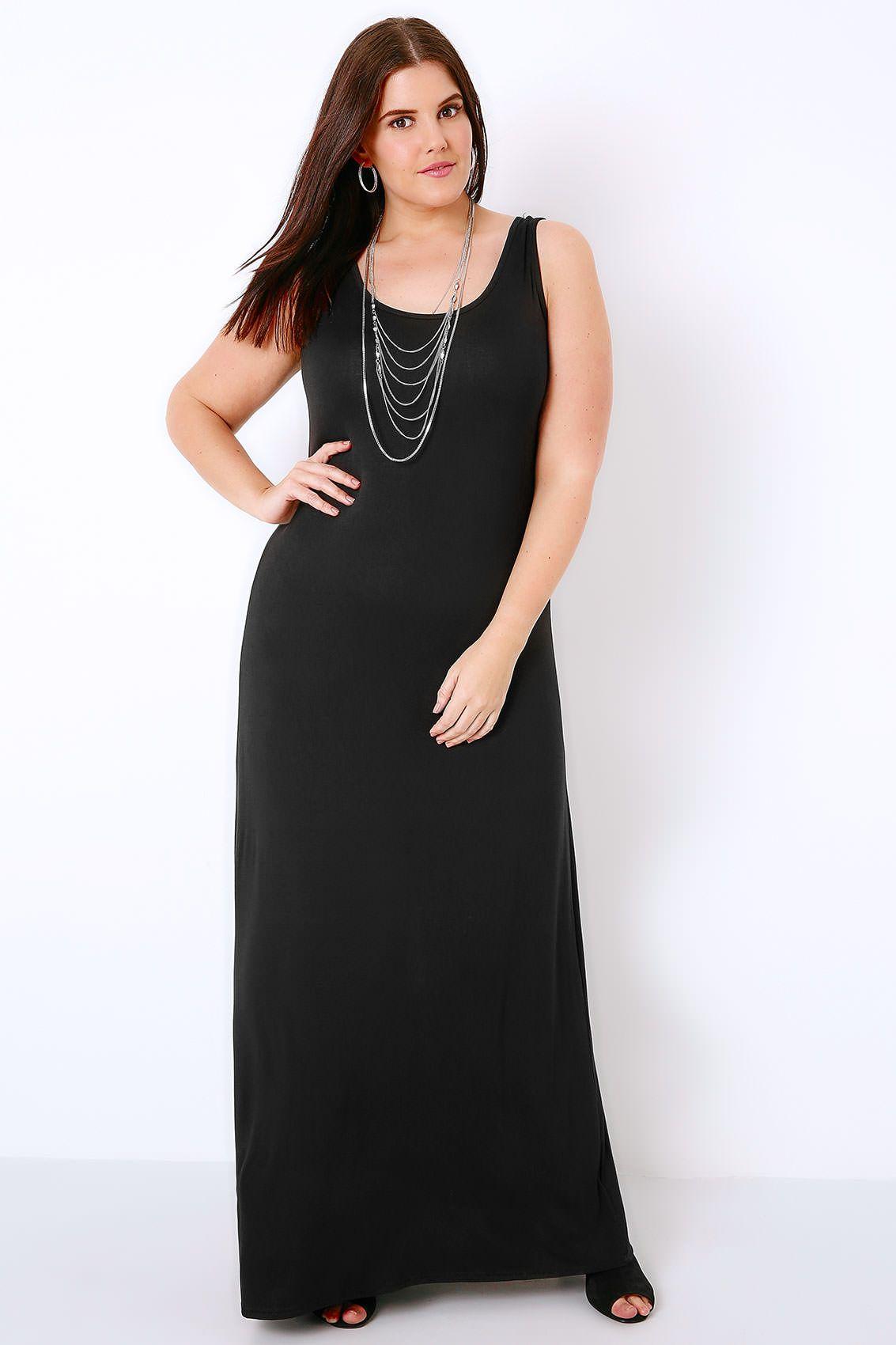 Black Plain Sleeveless Jersey Maxi Dress | Husband | Dresses, Plus ...