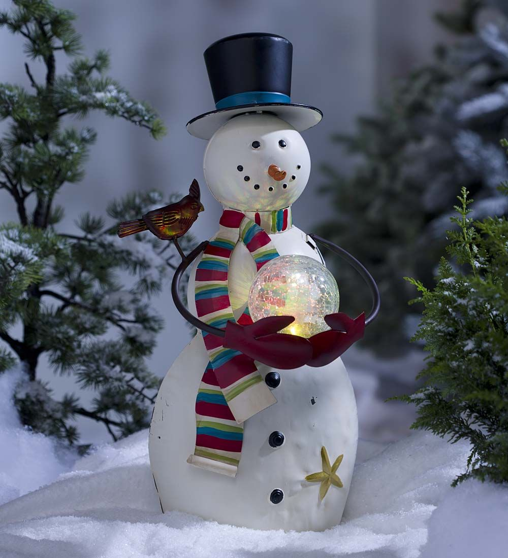 indooroutdoor snowman sculpture with color changing glass ball