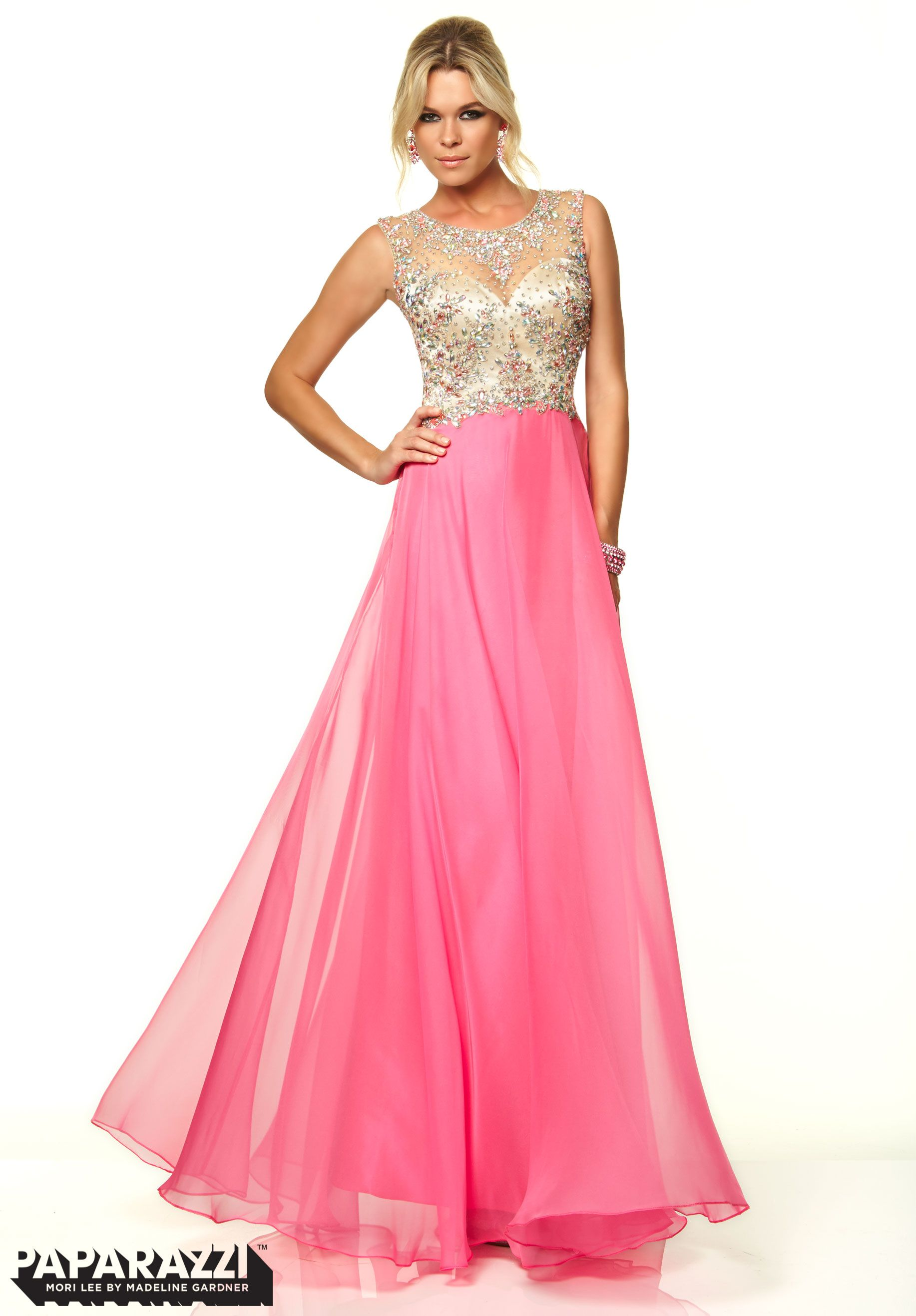 prom dresses gowns beaded net and chiffon hot pink dresses