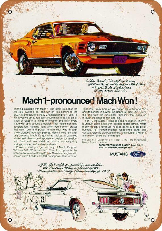 1970 Mustang Mach 1 Vintage Look Metal Sign