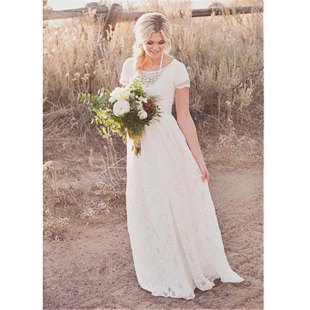 Lace Scoop Neck Aline Floor length simple cheap Wedding Dresses