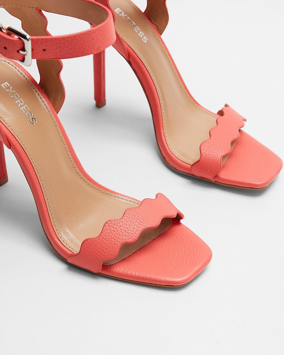 33003f646d9d Express Square Toe Scalloped Heeled Sandal