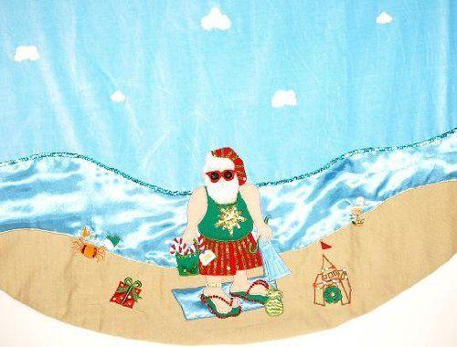 Tropical Beach Swimsuit Santa Christmas Tree Skirt Velvet