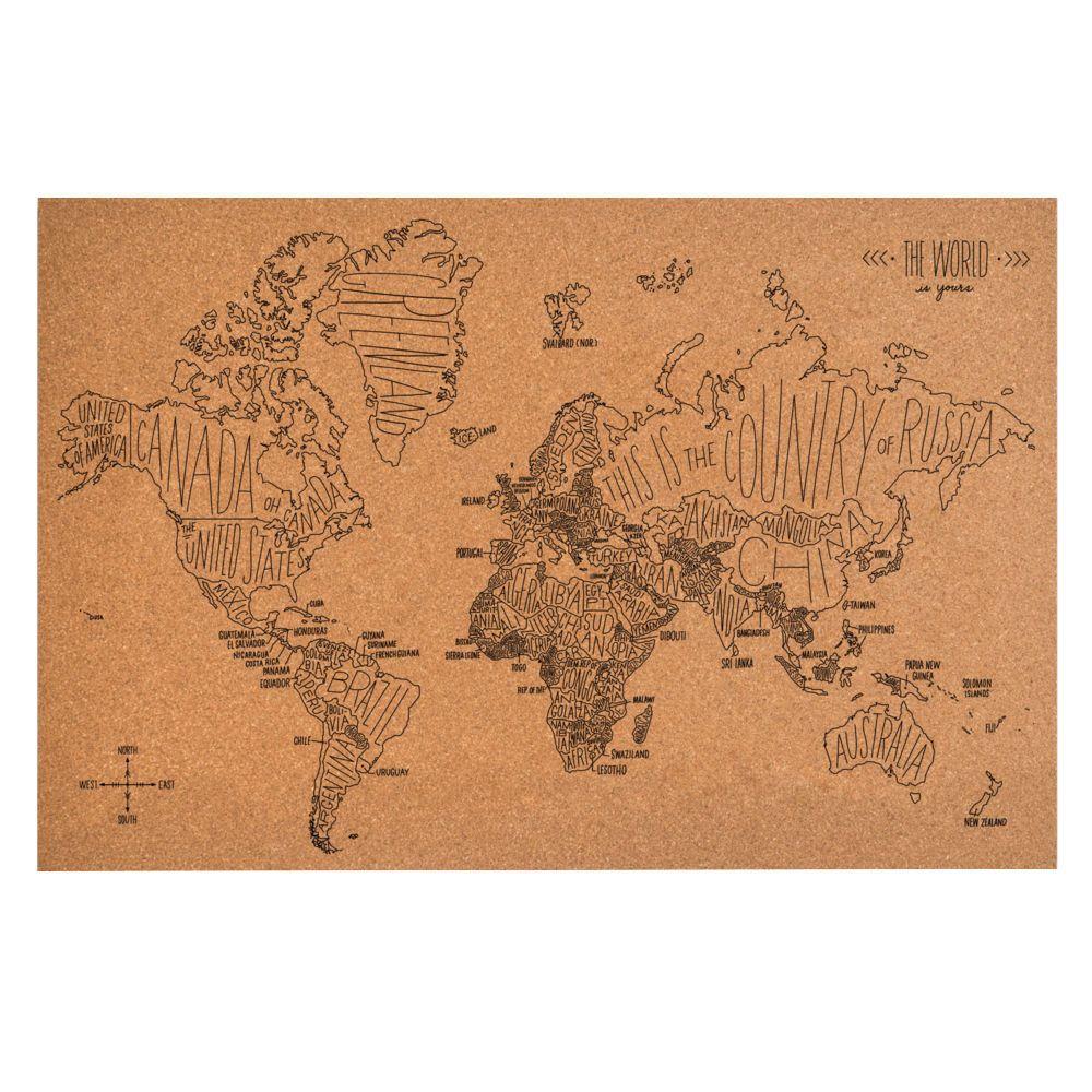 World map cork board cork map cork and cork boards world map cork board gumiabroncs Gallery