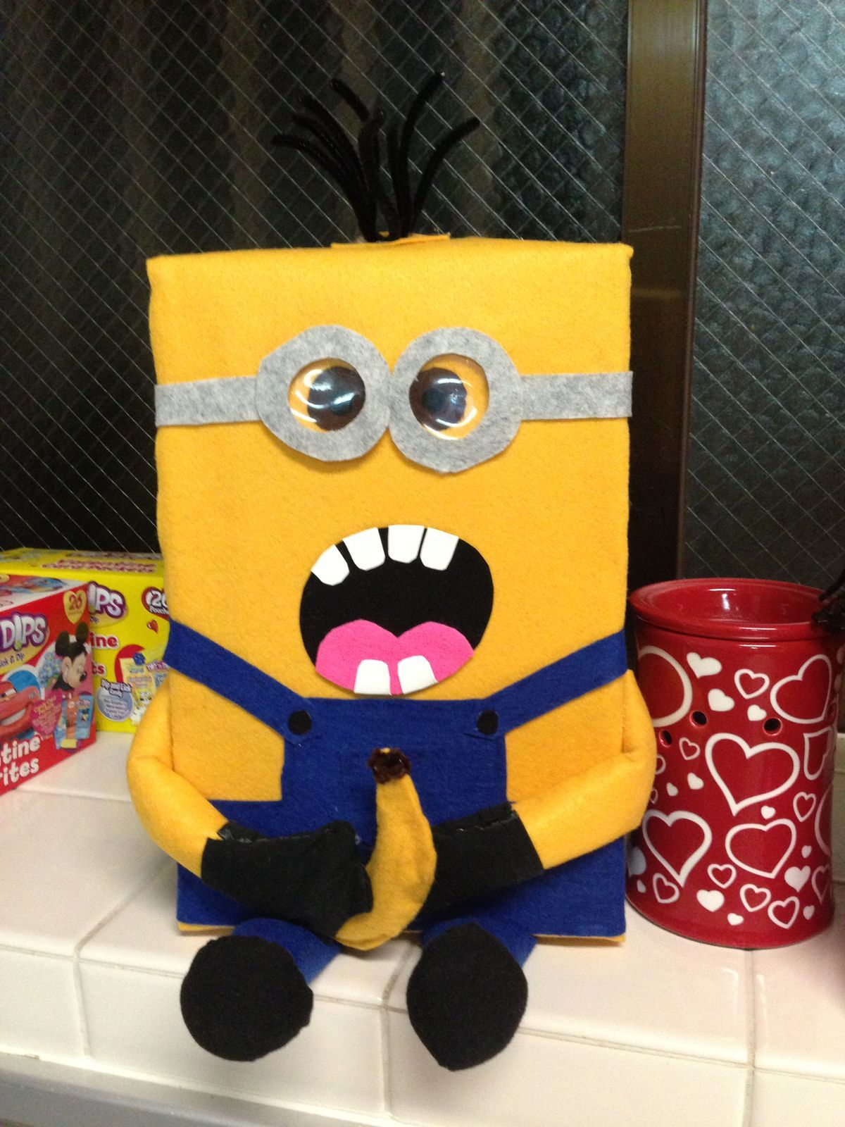 Minion valentine card holder  Cereal valentines card holder