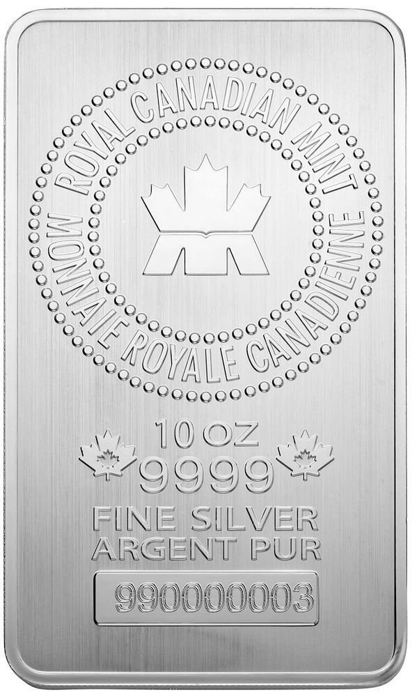 Royal Canadian Mint Rcm 10 Oz Silver Bar 9999 Fine New Ebay Silver Bars Silver Investing Silver Bullion