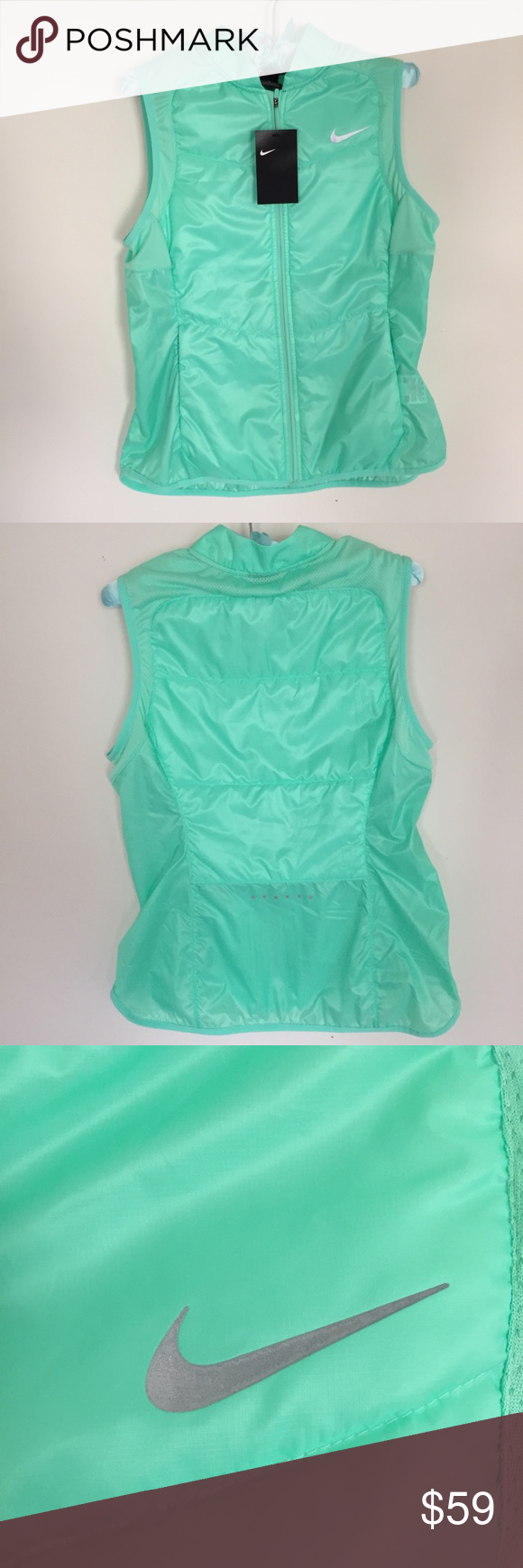 0e78ba0cd89a3 Nike Reflective Polyfill Vest New with tag ✨ light teal color, lightweight  & perfect for spring as well as chilly summer nights 🔸 details 🔸  reflective ...