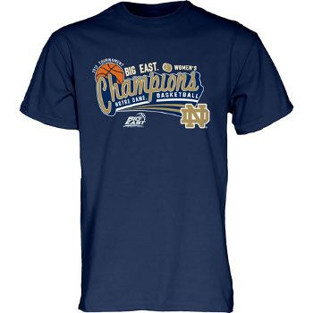 ND Women's Basketball Women's Big East Champs T-Shirt. The road to Women's Basketball superiority leads through the Big East - and our team reigns supreme! Celebrate the Women's Basketball team's great season and their capture of the Big East Tournament Women's Championship! This short sleeve t-shirt features printed team and Tournament Champions graphics. Navy. Men's/Unisex size. Shipping to begin Friday, March 15th.