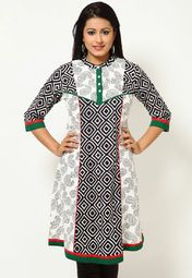 Exquisite all-over print along with a lovely colour combination makes this kurta from Kurti's a must-have for all style-conscious women out there. The beautifully designed hem and yoke further adds to the overall charm of this creation.