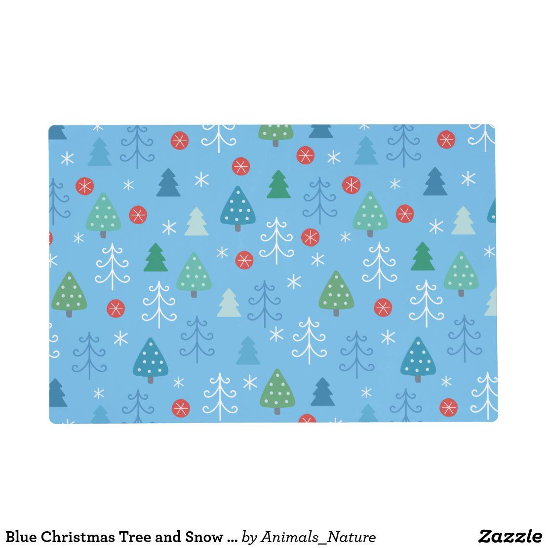 Blue Christmas Tree And Snow Pattern 1 Placemat Zazzle Com Blue Christmas Tree Christmas Placemats Blue Christmas