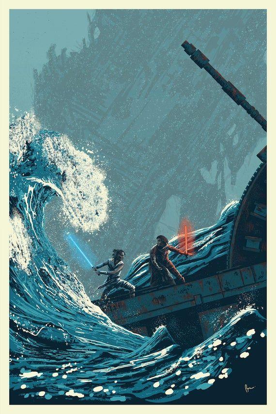 Star Wars Rise Of Skywalker Art Poster Print Kylo Vs Rey Star Wars Background Star Wars Wallpaper Rey Star Wars
