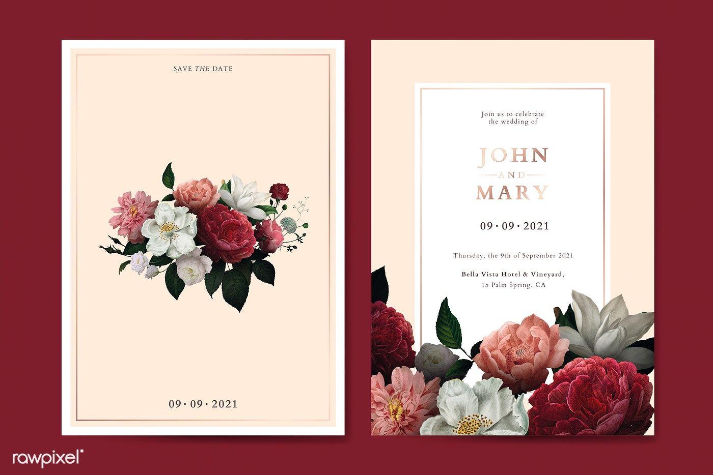 Download Premium Vector Of Flower Wedding Invitation Card Template Vector Flower Wedding Invitation Wedding Invitations Digital Wedding Invitations