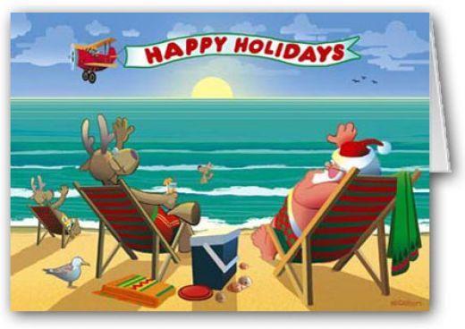 Beach Christmas Cards And