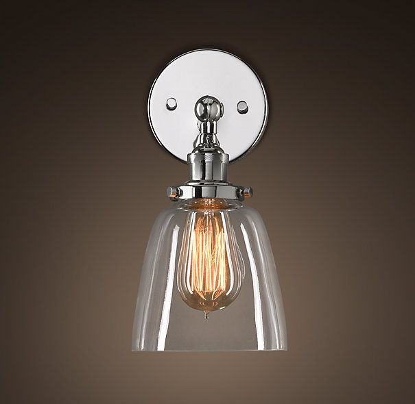 Glass Cloche Filament Sconce Polished Nickel Sconces Restoration - Polished nickel bathroom sconces