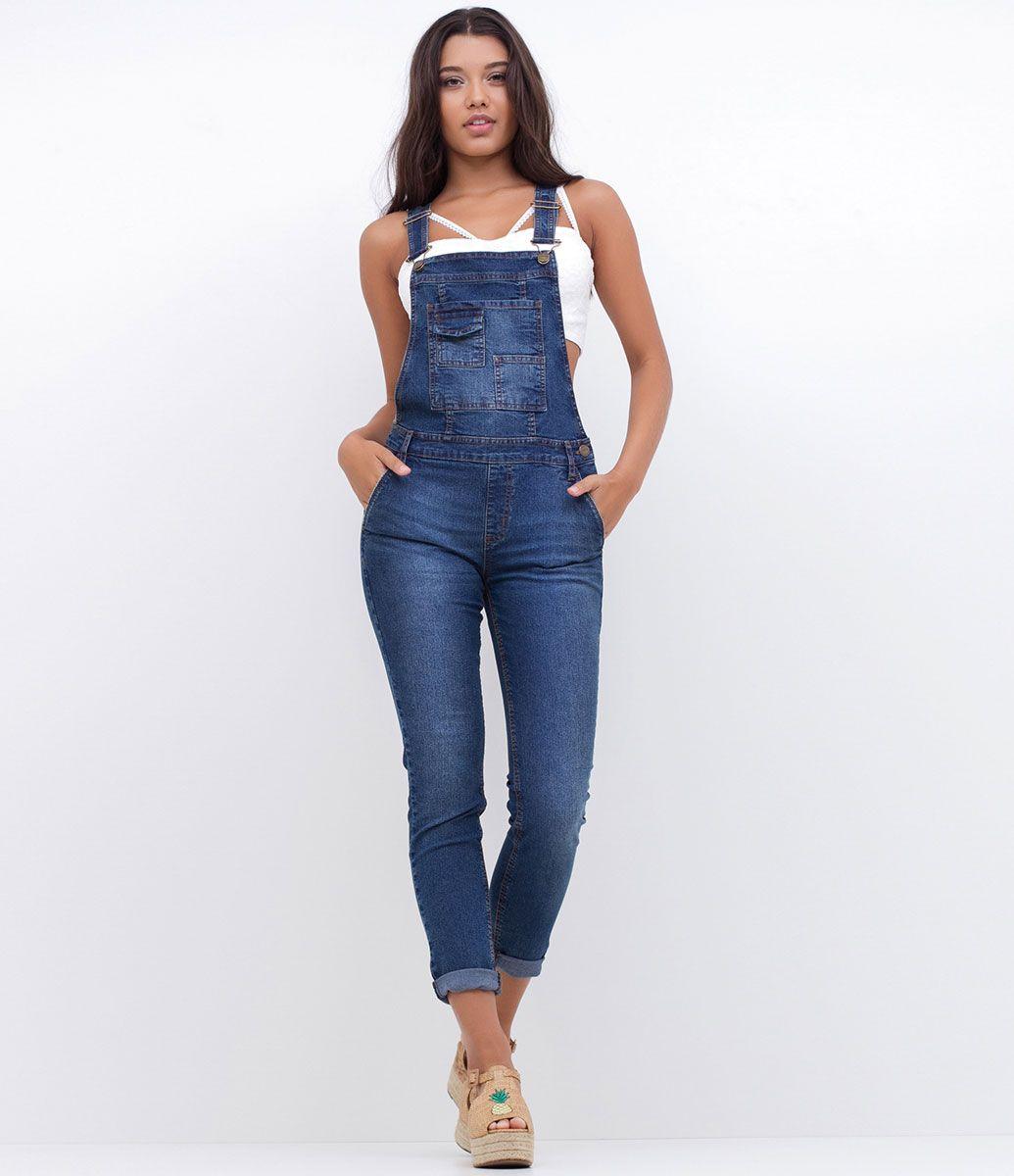 906c392c2 Macacão feminino Modelo longo Com bolso Marca  Blue Steel Tecido  jeans  Composição  79