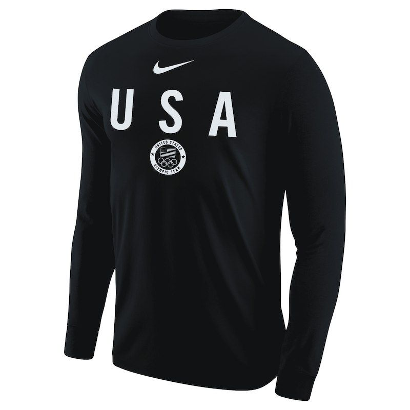 88636ec4 Men's Nike Black Team USA Core Cotton Long Sleeve T-Shirt | Sport ...
