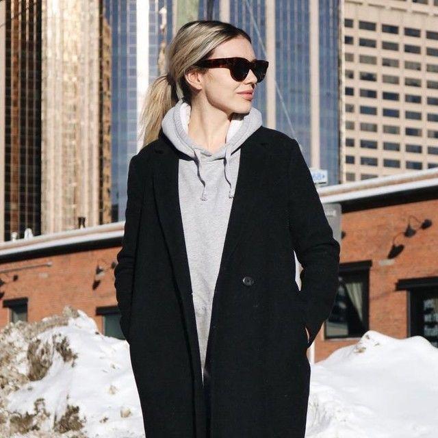 Alexa Jade Warren in the Babaton Stedman Coat and Whitecap Hoodie by Tna.