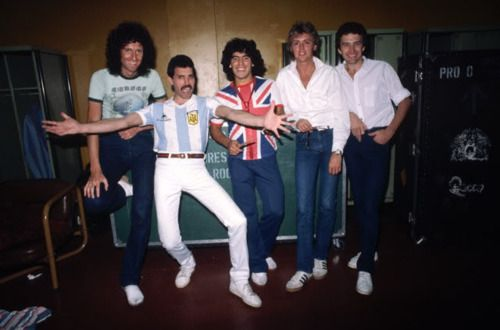 """A controversial backstage photo of Queen with soccer legend Diego Maradona  in Argentina during """"The Game Tour"""". 9c86ffd7f"""