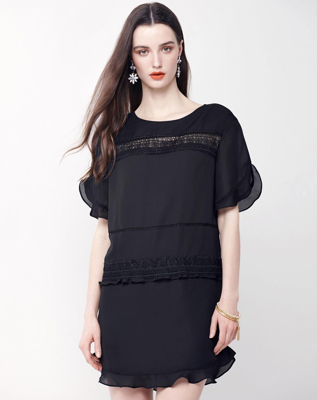 Adorewe vipme aline dresses moonbasa black solid color sheer cut