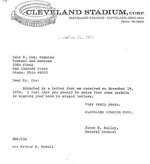 Complaint Letters To Companies Simple 1974 Cleveland Stadium Response To Complaintticket Holder About .