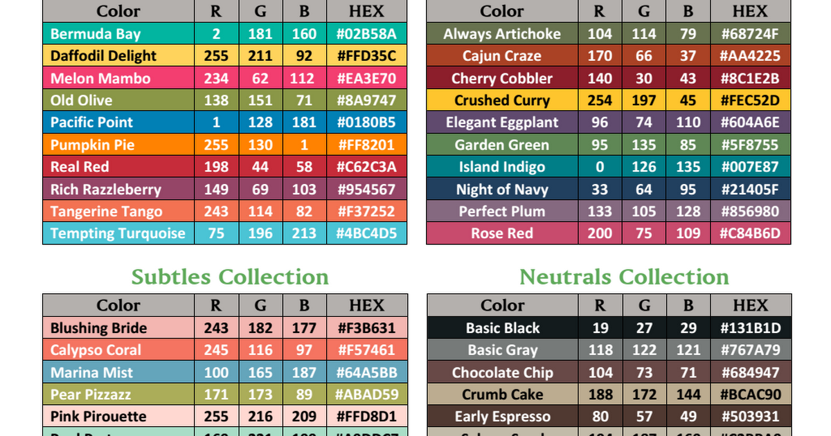 Rgb Hex Color Codes 2014 2015pdf Craft Organization Pinterest